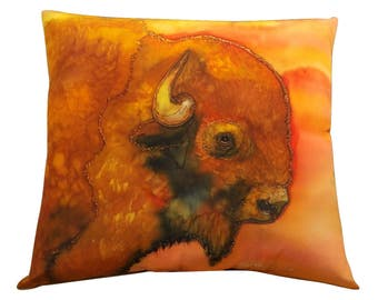 Buffalo Pillow Silk Art Painting - Western Bison Pillow - Buffalo Art Hand Painted Silk Art Painting - Ranch Home Decor - Rustic Lodge Decor