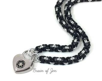 Submissive Day Collar Star Wars Empire Symbol Lock in Black and Silver