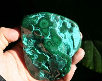 Malachite and Chrysocolla Crystal Cluster Bright Blue and Green Polished Stone Specimen