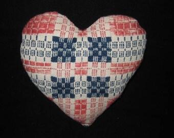 Handmade Antique Coverlet Fabric Pillow