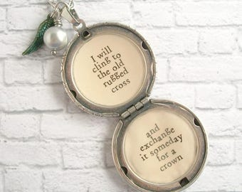 The Old Rugged Cross Hymn Quote Locket Necklace Christian Music Jewelry Antique Silver Victorian Pendant