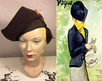 His Eyes Melted For Her - Vintage 1930s Dark Chocolate Asymmetrical Stand Up Brim Rayon Hat w/Catalin Pin