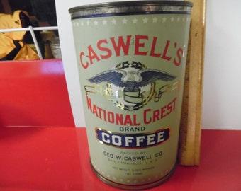 Vintage Caswell's coffee can, coffee tin, San Francisco tin.