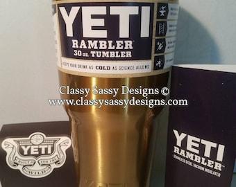 30 oz monogrammed Yeti rambler tumbler T - yellow gold - IN STOCK