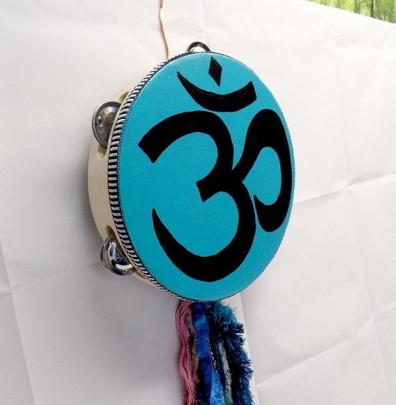 Om Festival Tambourine - Painted Tambourine - Bohemian Decor - Om Decor - Om Wall Hanging - Music Room Decor