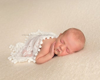 Baby Lace Wraps, Mini Newborn Wraps, Tassel Layer, Baby Girl Photo Prop, newborn Props, RTS, Pink, Cream, Gray, Baby Props, Vintage, Fringe