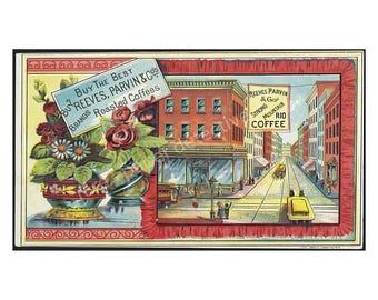Antique Roasted Coffee Trade Card, 4 x 7, Vintage Kitchen Ephemera, 1890 Advertising Print, Country Store Advertising, Victorian Era, 16-21