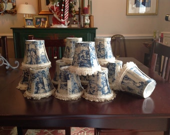 Blue and natural French toile chandelier shades