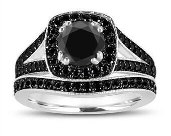 ON SALE 1.82 Carat Natural Black Diamond Engagement Ring Set, Wedding Ring Sets 14K White Gold Unique Handmade Halo Pave Bridal