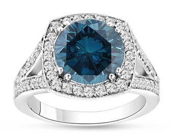ON SALE 3.83 Carat Fancy Blue Diamond Engagement Ring, Wedding Ring 14K White Gold Halo Pave Certified Handmade Unique