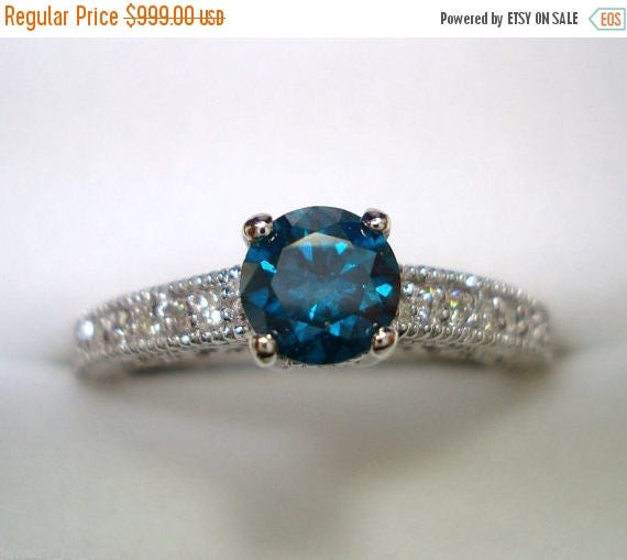 ON SALE Fancy Blue & White Diamond Engagement Ring 14K White Gold 0.61 Carat Antique Vintage Style Engraved Certified Handmade
