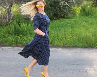 Vintage Navy Dress With Yellow Polka Dots, Full Skirt and Pockets