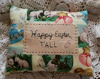 Prim Stitchery Happy Easter Y'all Pillow ~OFG