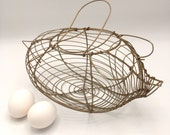 Vintage Wire Egg Basket, Pig Shaped, Country Farm Rustic, Garden Decor
