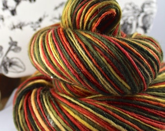Handspun Yarn Gently Thick and Thin DK Single Polwarth 'Chili'