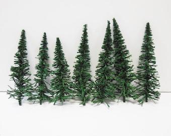 7 miniature Fir pine trees Railroad village landscape diorama terrarium fairy garden forest folk lifelike tree  supplies