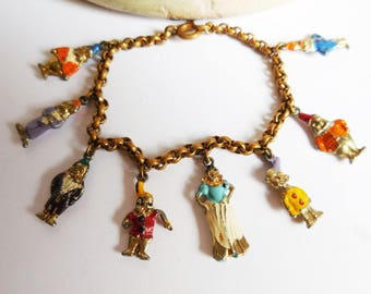 Vintage Snow White & Seven Dwarves bracelet Hand painted enamel charms Walt Disney childs bracelet 1930's