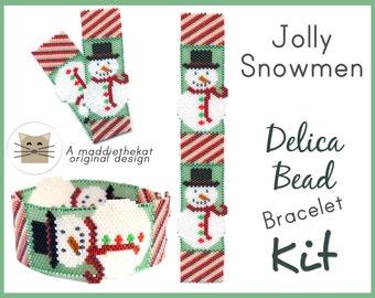 Jolly Snowmen Bracelet Delica Peyote Seed Bead Pattern or KIT DIY Christmas
