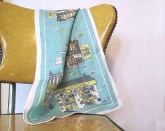 1960s New Orleans Souvenir Linen Tea Towel, vintage Dish Towel - Decatur Street Market + Absinthe House + Antonio's Cafe - Original Tag