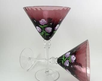 Martini Glasses Roses Plum Colored Hand Painted Flowers Set of 2