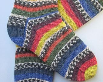 hand knitted mens socks, UK 9-11 US 10-12, mens wool socks, brightly coloured socks, unisex wool socks, unique knitted socks, striped socks