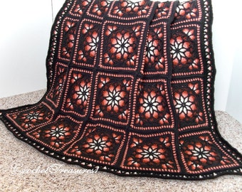 Spanish Nights Stained Glass Afghan / New Crochet Throw Blanket / Warm Soft Afghan / Red Throw Blanket / Red Black Throw / Spanish / Sunset