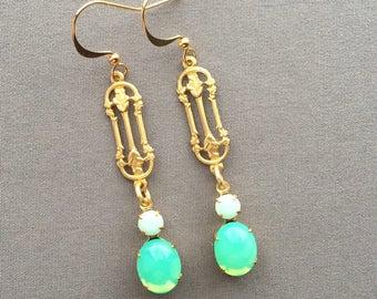 Rose Earrings - Rhinestone Earrings - Art Deco Earrings - Rosebud Earrings - Rose Jewelry - Mint Jewelry - Art Deco Jewelry - Drop Earrings