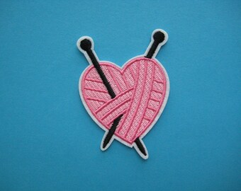 SALE~ Iron-on Embroidered Patch Knitting with My Heart 2.75 inch