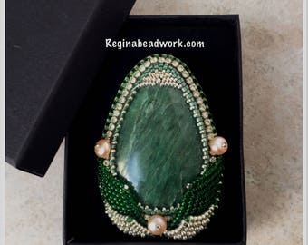 Handmade Brooch Pin Seraphinite Beaded Pearl Green Beadwork Stone Bead Embroidered Women statement Boho gift