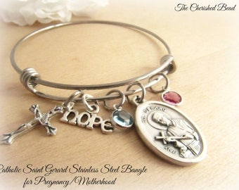 Saint Gerard Catholic Stainless Steel Bangle Bracelet with Charms - Saint for Motherhood/Pregnancy