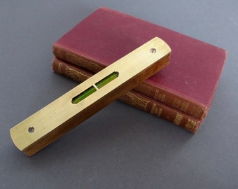 Vintage Brass English Spirit Level - Vintage woodworking tool - Wood level