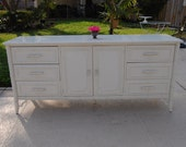 Lacquered FAUX BAMBOO DRESSER / Regency Style Faux Bamboo Fretwork Buffet / Credenza / Faux Bamboo Server Island Style at Retro Daisy Girl
