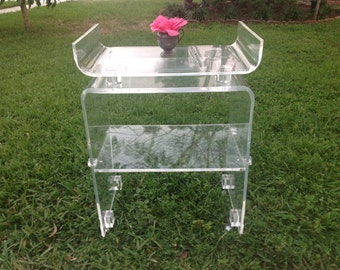 LUCITE BAR CART / Pagoda Top Lucite Bar Cart / Waterfall Lucite / Lucite Cart / Hollywood Regency Style On Sale at Retro Daisy Girl