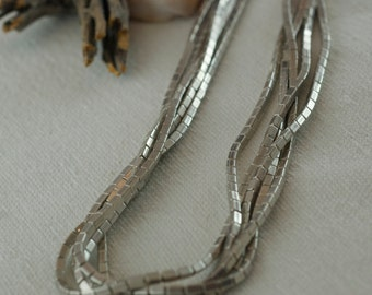 Vintage Collectible Signed Ed Aguilar Sterling Silver 925 five Strand Hand Pulled Bead Necklace  .....6183