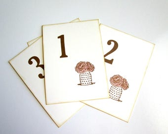 Set of 10 Wedding Table Numbers, Bridal Shower Table Numbers, Party Decorations, Flower Table Numbers, Family Reunion Table Numbers