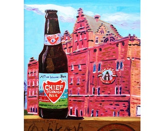 Wisconsin Beer Art, Chief Oshkosh Beer, Oshkosh Brewery, Vintage Beer, Gift for Husband, History of Brewing, Present for Brewer, Bar Art