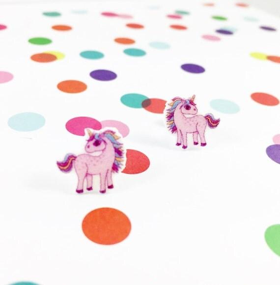 Small, unicorn, pink, pastel, earrings, light, hypoallergenic, plastic, stainless stud, handmade, les perles rares