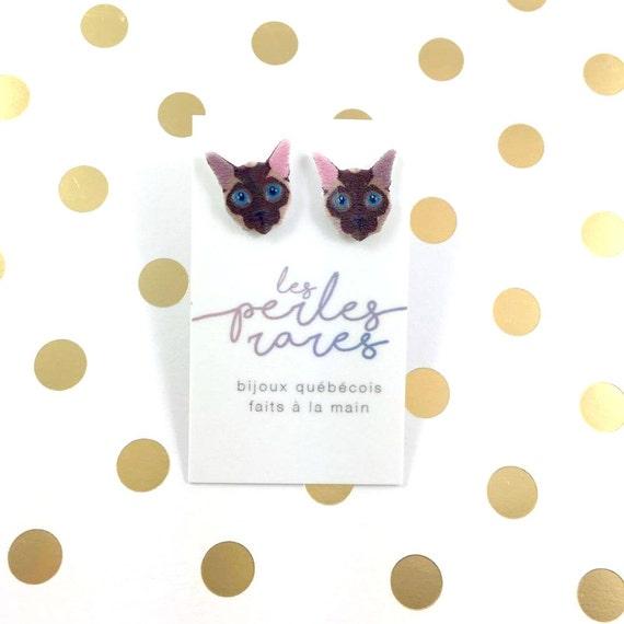 siamese Cat, classique siamese cat, earring, catlover, Meezer cat,  plastic, stainless stud, handmade, les perles rares