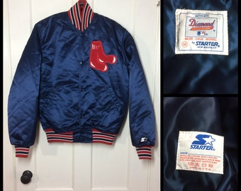 Deadstock 1980's Boston Red Sox Baseball Team Diamond Collection Starter heavy Satin Jacket double thick size Medium original Logo patch NOS