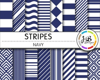 Stripes Digital Paper, Navy, Blue, Blue and White, Stripes, Nautical, Digital Paper, Digital Download, Scrapbook Paper, Digital Paper Pack