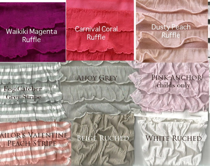 Textured Fabric Swatch- Ruffle, Ruche, Scallop, Embroidered for the Octopus Wrap Dress .99 cents PER Color Sample- Free Shipping in US