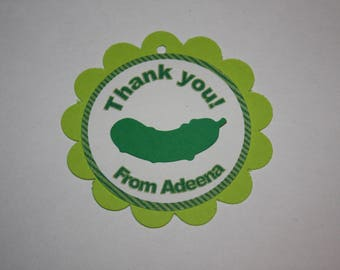 12 Pickle Die Cut - Favor Tags - Gift Tags - Thank you Tags