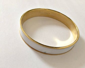 White enamel and gold Monet 1970 Bangle Bracelet
