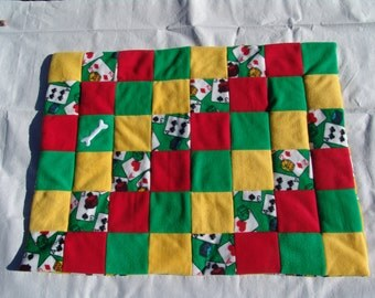 Medium fleece dog blanket - cards and dice on green