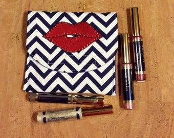 LipSence, Lipstick, lip gloss pouch, holder, custom made, navy and white chevron, holds 5-6 lipsticks,red hot lips, great down line gift