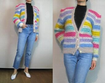 Rainbow STRIPED MOHAIR Cardigan Vintage 70s 80s Handknit Mohair Angora Goat Cardigan Hand Knit Mohair Cardigan Rainbow Striped Sweater