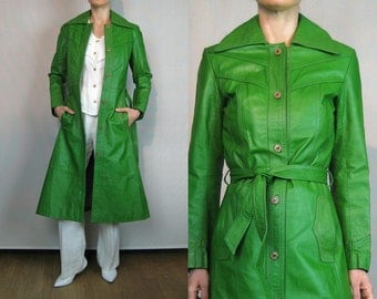 70s Avocado Leather Belted Trench Coat
