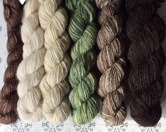 """Tomtebobarnen - """"Once upon a time"""" collection of handspun shawl yarns"""