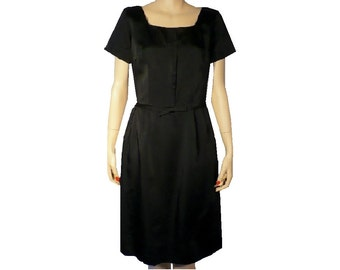 M Tailored Treat, Black Satin Cocktail Dress, Short Sleeves, Vintage 50s 1950s Silk Dress, Medium
