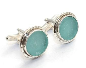 925 Silver Hammered Hand Made One Of A Kind Bluish Roman Glass  Men Cufflinks